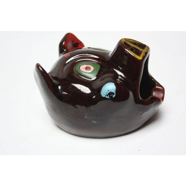 Hand-Painted Folk Art Porcelain 'Pig' Ashtray For Sale - Image 4 of 13