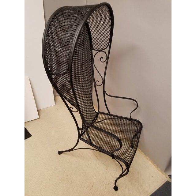 Russell Woodard Mid-Century Woodard or Salterini Black Iron Hooded Porters Garden Chair For Sale - Image 4 of 5