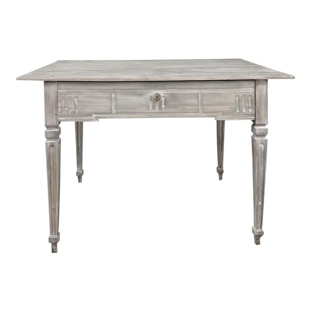 19th Century Country French Louis XVI Whitewashed End Table - Writing Table For Sale