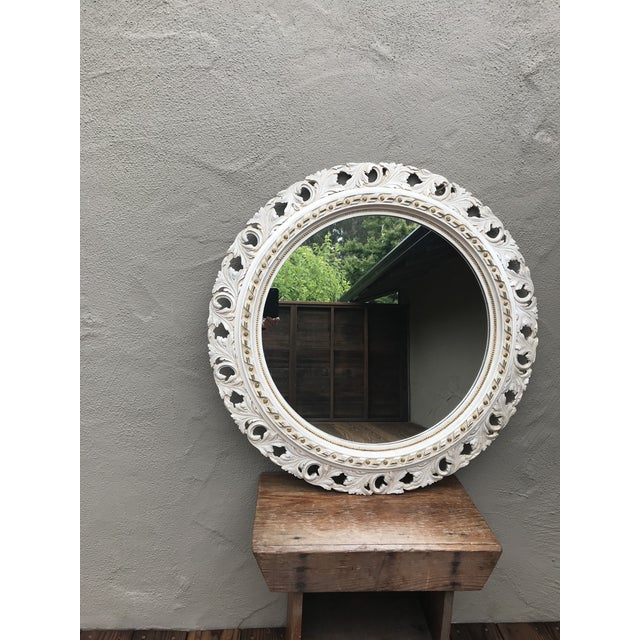 Mid 20th Century Hollywood Regency Hand Carved Round Mirror For Sale - Image 5 of 5