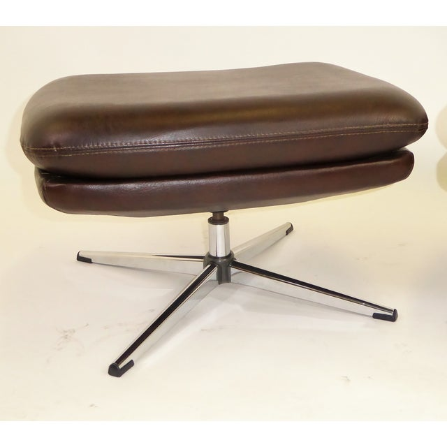 Danish Modern 1970s Overman Swivel Foot Stools Benches in Dark Brown Leatherette- A Pair For Sale - Image 3 of 13