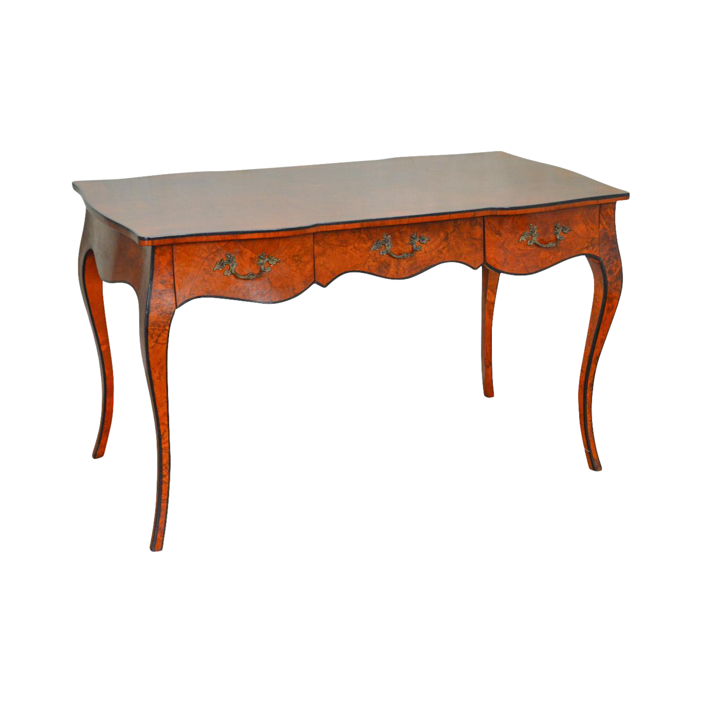 Lovely Italian Burl Wood Louis XV Style Writing Desk