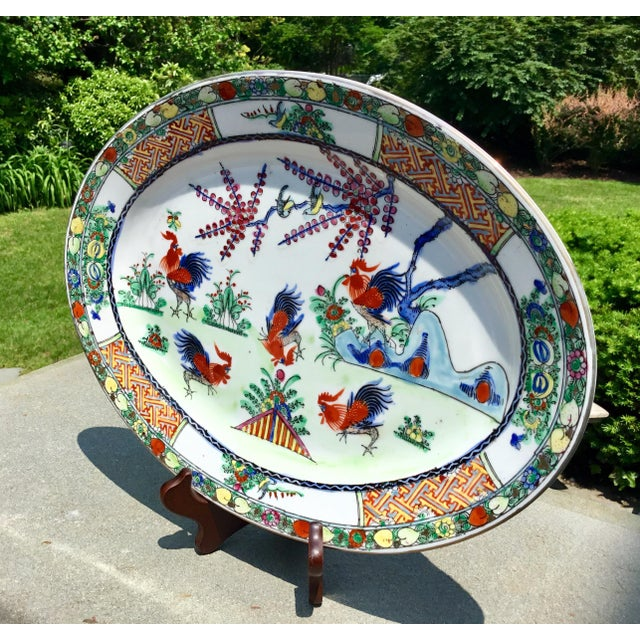 Asian 1940s Vintage Chinoiserie Rooster Platter For Sale - Image 3 of 9