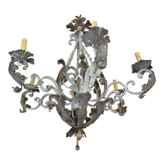 Vintage Italian Wrought Iron Chandelier For Sale