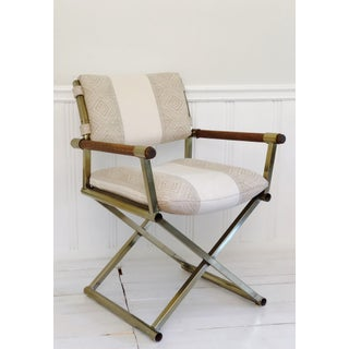 1970s Mid Century Brass Milo Baughman Style Campaign Director's Chair Preview
