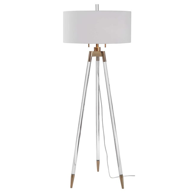 White Lucite and Brass Tripod-Style Floor Lamp with White Shade For Sale - Image 8 of 8