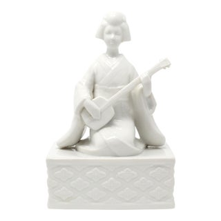 Vintage Ceramic Geisha Playing Shamisen Figure / Music Box