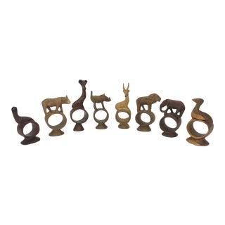 Kenyan Wood Carved Animal Napkin Rings - Set of 8 For Sale
