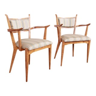 Edmond Spence Swedish Modern Sculpted Tiger Maple Armchairs, Pair For Sale