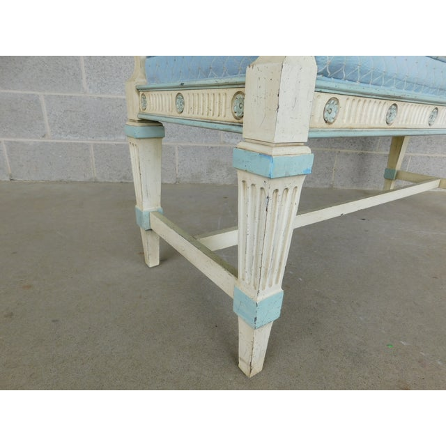 Late 20th Century Hickory White Regency Style Paint Decorated Window Accent Bench For Sale - Image 5 of 9