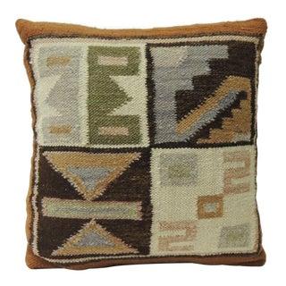 Petite Vintage Woven South American Woven Kilim Decorative Pillow For Sale