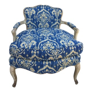 1940's French Ikat Covered Bergere Chair