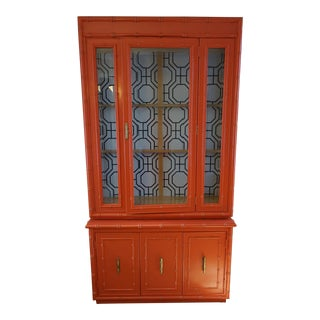 Faux Bamboo Coral China Cabinet