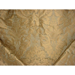 Kravet Couture 24354 Limoges Silk Damask Golden Sage Upholstery Fabric- 10-3/4 Yards For Sale