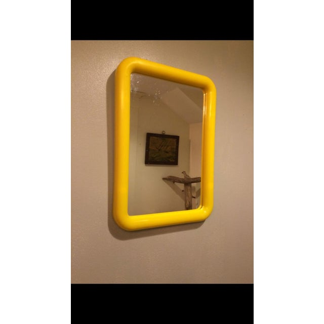 Mid Century Yellow Plastic Space Age Mirror - Image 5 of 6