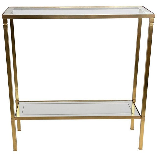 Mastercraft Style Brass Console Table For Sale - Image 13 of 13