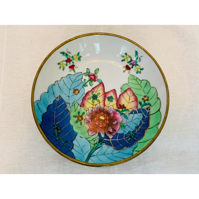 This Catchall/Trinket dish is truly eye catching. The colorful, hand painted tobacco leaf pattern has been sought after...