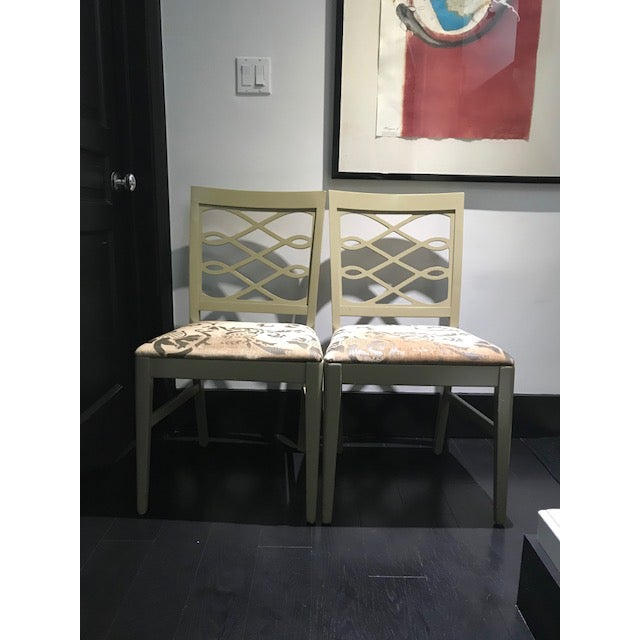 Mid-Century Stenciled Velvet Dining Chairs - a Pair For Sale - Image 12 of 13