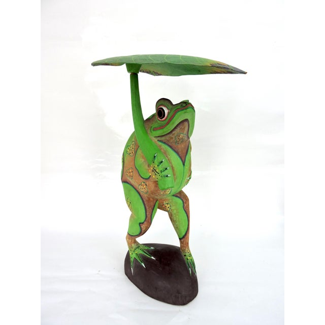 Fruitwood 1970s Boho Chic Balinese Frog With Leaf For Sale - Image 7 of 7