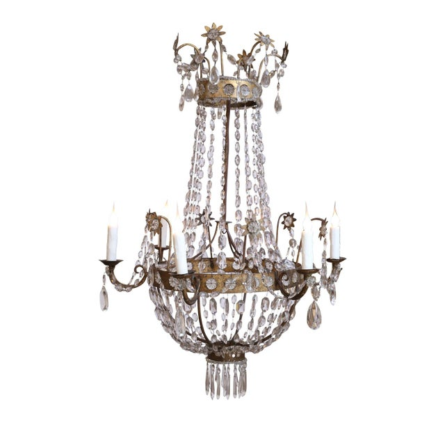 Late 19th Century 19th Century Neoclassical Gilt-Iron Chandelier For Sale - Image 5 of 13
