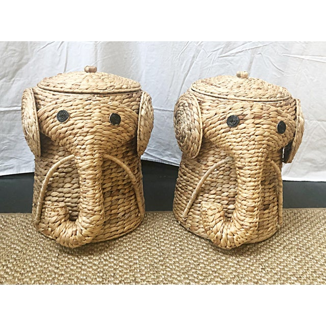 Boho Chic Sisal Lidded Elephant Hamper Baskets - a Pair For Sale - Image 3 of 3