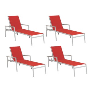 Outdoor Sling Chaise Lounge, Vintage and Red (Set of 4) For Sale