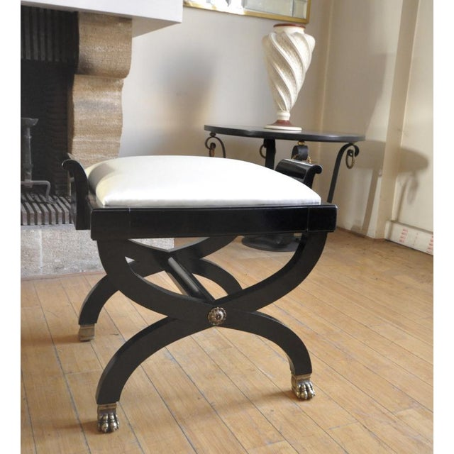 Maison Jansen Superb Pair of X Black Stool With Lion Legs For Sale - Image 6 of 7