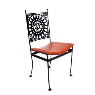 Heavy Steel Chair with Sunburst Design, Mid-Century Modern For Sale