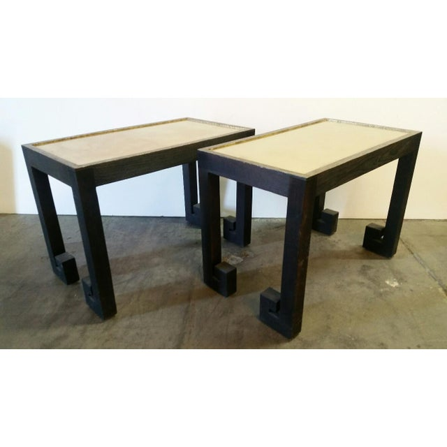 Transitional Paul Marra Distressed Greek Key Side Tables - a Pair For Sale - Image 12 of 12