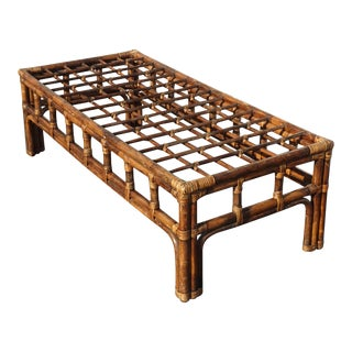 Vintage Mid Century Modern Bamboo Rattan Cocktail Coffee Table No Glass For Sale