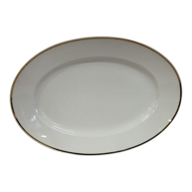 Italian Oval Platter Gilt Rim by Ginori For Sale