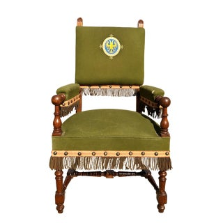 Late 19th Century Antique Carved Oak Symbolic Doubled Headed Eagle Lodge Club Chair For Sale
