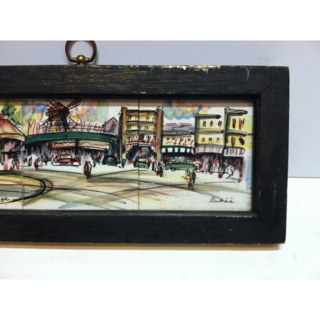 "The School of Paris Vintage Mid Century ""Paris - Le Moulin Rouge"" Original Painting on Tiles by Renee' For Sale - Image 3 of 7"