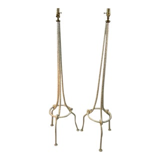 Pair of White Brutalist Knot Floor Lamps in the Manner of Alberto Giacometti For Sale