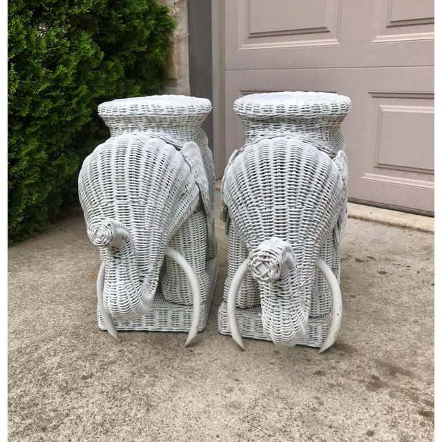 Asian Vintage 1960's White Wicker Elephant Plant Stands / Side Tables - a Pair For Sale - Image 3 of 7