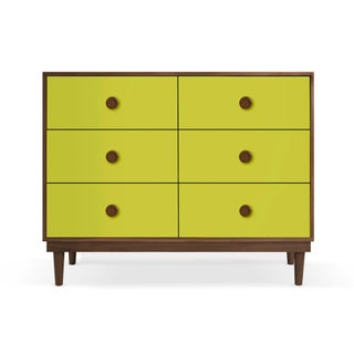 Lukka Modern Kids 6-Drawer Dresser in Walnut With Green Finish Preview