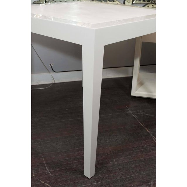 2010s Ivory Lacquer and Water Grey Shagreen Game Table with Bone For Sale - Image 5 of 7