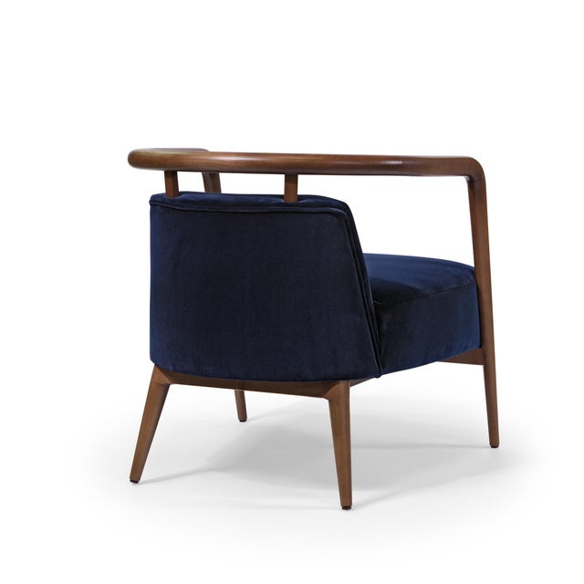 Contemporary Mid Century Style Scandinavian Modern Walnut Lounge Chair For Sale - Image 4 of 6