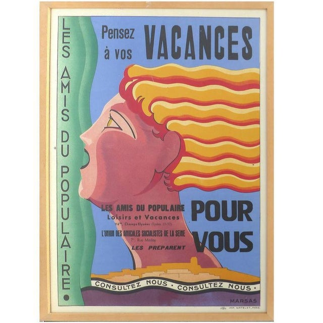French Art Deco Vacances Poster by Marsas For Sale - Image 10 of 10