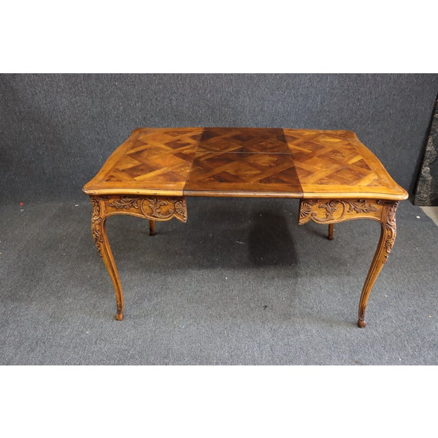 Wood Henredon Louis XV Style Carved Fruitwood Parquetry Dining Table For Sale - Image 7 of 10