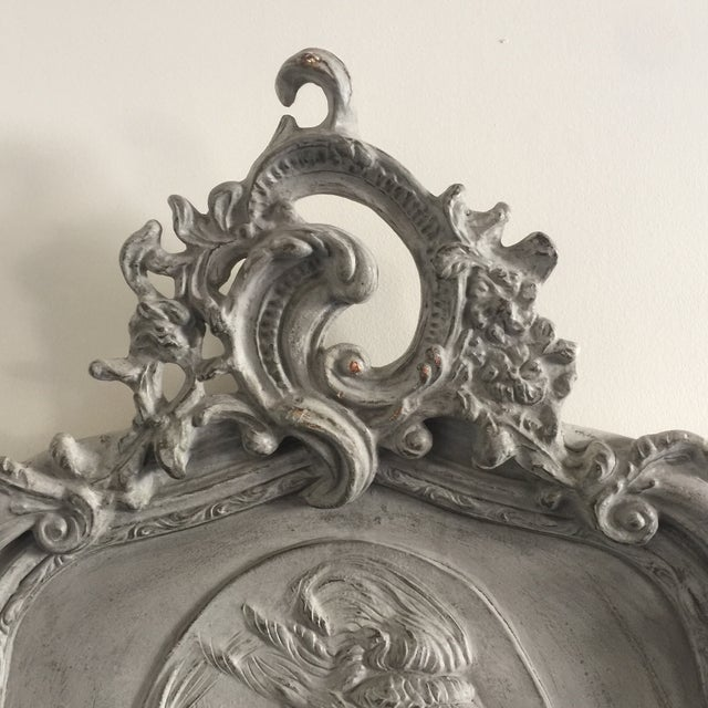 French Provincial Grey Relief Beveled Floor Mirror For Sale - Image 3 of 7