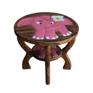 Pink Elephant Wooded Round Side Table