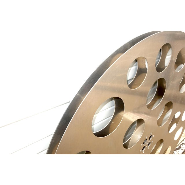 Metal Vintage 35mm Cinema Projection Reel. Huge 42 Inch Significant Wall Sculpture For Sale - Image 7 of 11