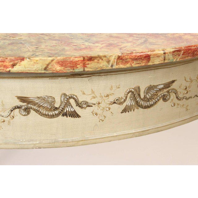 Wood Louis Philippe Painted Demilune Console Table For Sale - Image 7 of 10
