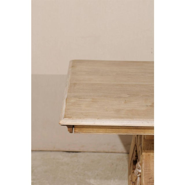 19th Century Italian Bleached Wood Dining Table With Lyre Shaped Base For Sale - Image 10 of 11