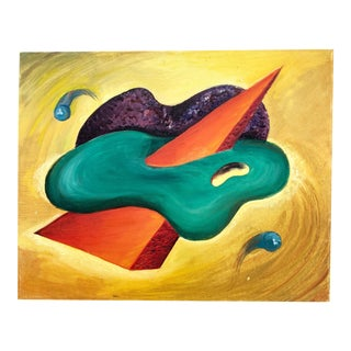 Vintage 1970s Geometric Biomorphic Abstract Modernist Painting on Canvas For Sale