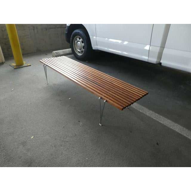 1950s Mid Century Modern Hugh Acton Slatted Wood Bench For Sale - Image 5 of 9