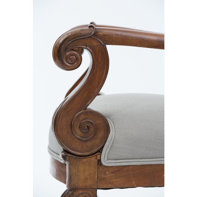 Linen Solid Walnut Pair French Restauration Armchairs For Sale - Image 7 of 10