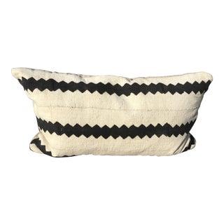 African Mud Cloth Black & White Lumbar Pillow