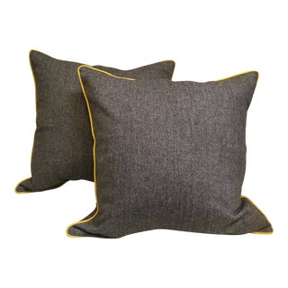 Pair Pillows Yellow Piping For Sale
